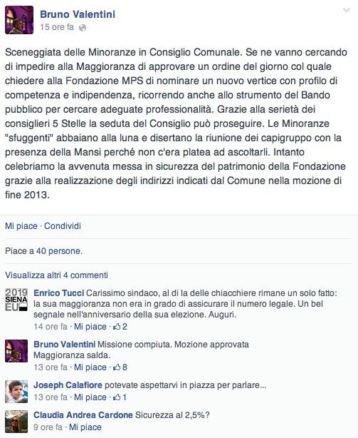 Dalla pagina facebook del Sindaco di Siena